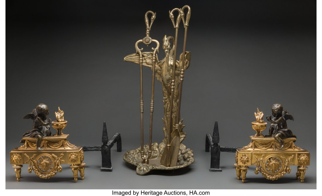 63537: A Pair of Louis XVI-Style Gilt and Patinated Bro