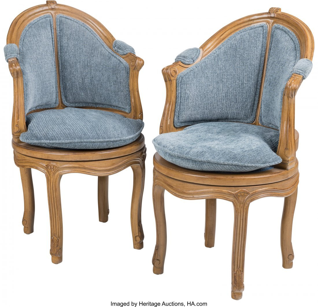 63542: A Pair of Louis XV-Style Swivel Bergères, 20th
