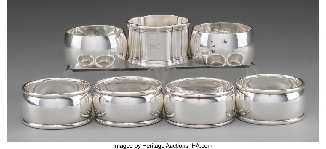 63625: Seven Tiffany & Co. Silver Napkin Rings, New Yor