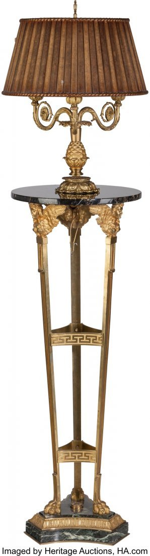 63547: An Empire-Style Gilt Bronze and Marble Three-Lig