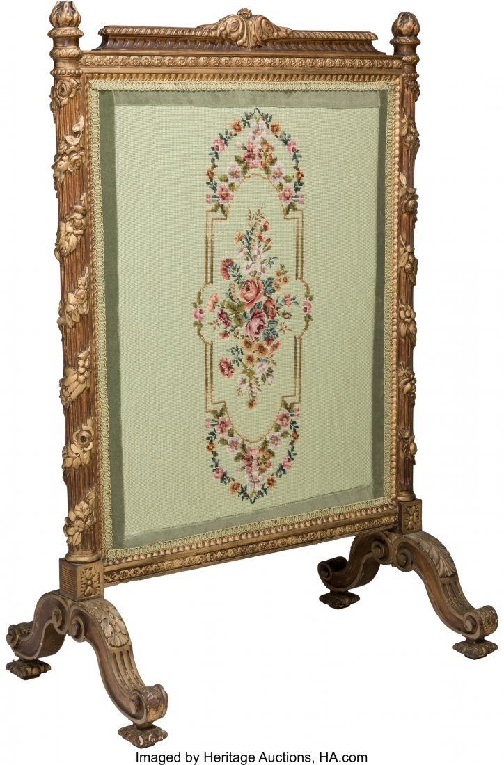 63549: A Beaux Arts Giltwood and Needlepoint-Upholstere