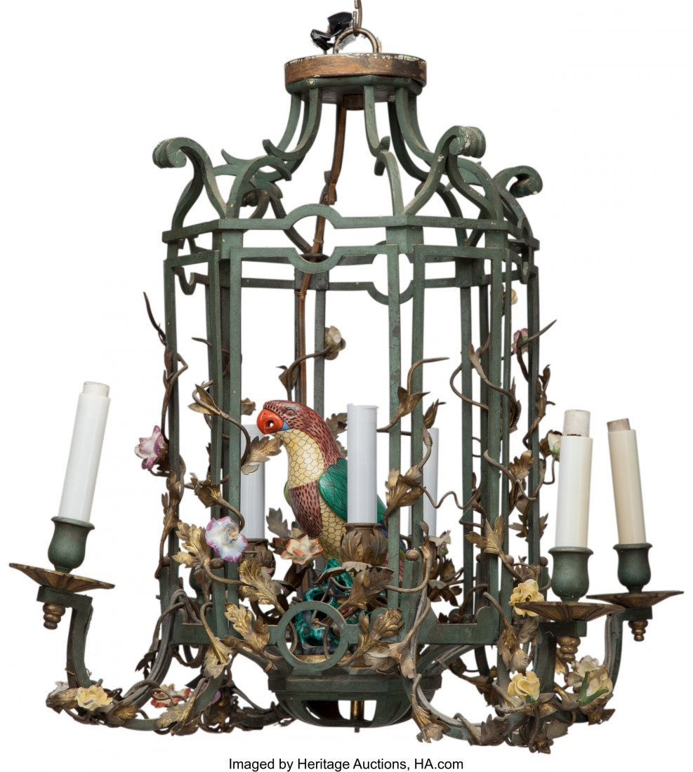 63551: A Seven-Light Chinoiserie Bronze and Porcelain B