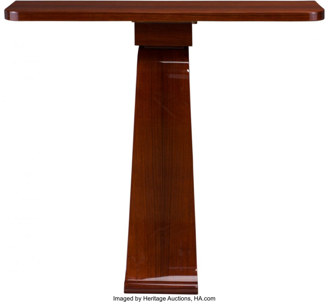 63552: A French Art Deco Lacquered Mahogany Console Tab