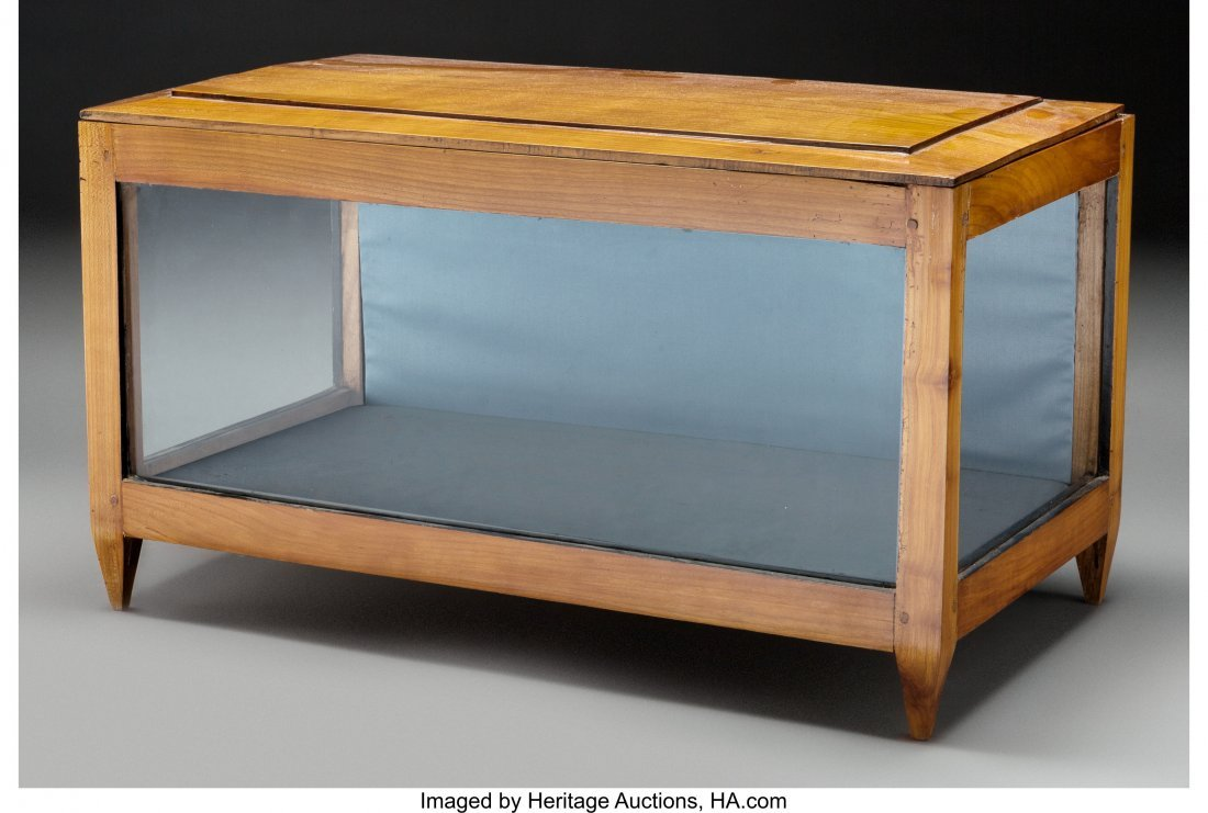 63555: A Biedermeier Cherry Tabletop Glazed Vitrine, 19