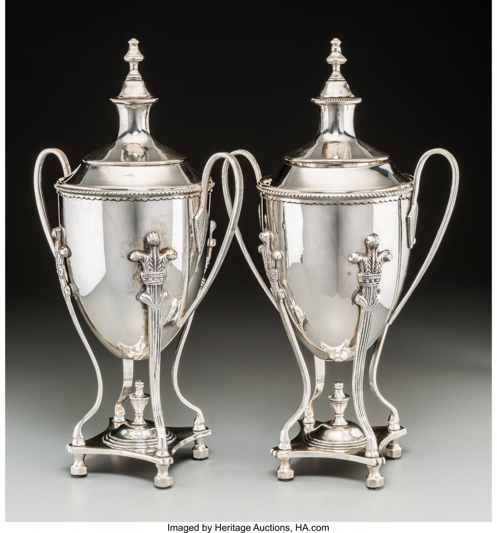 63629: A Pair of Silver-Plated Covered Urns, 20th centu