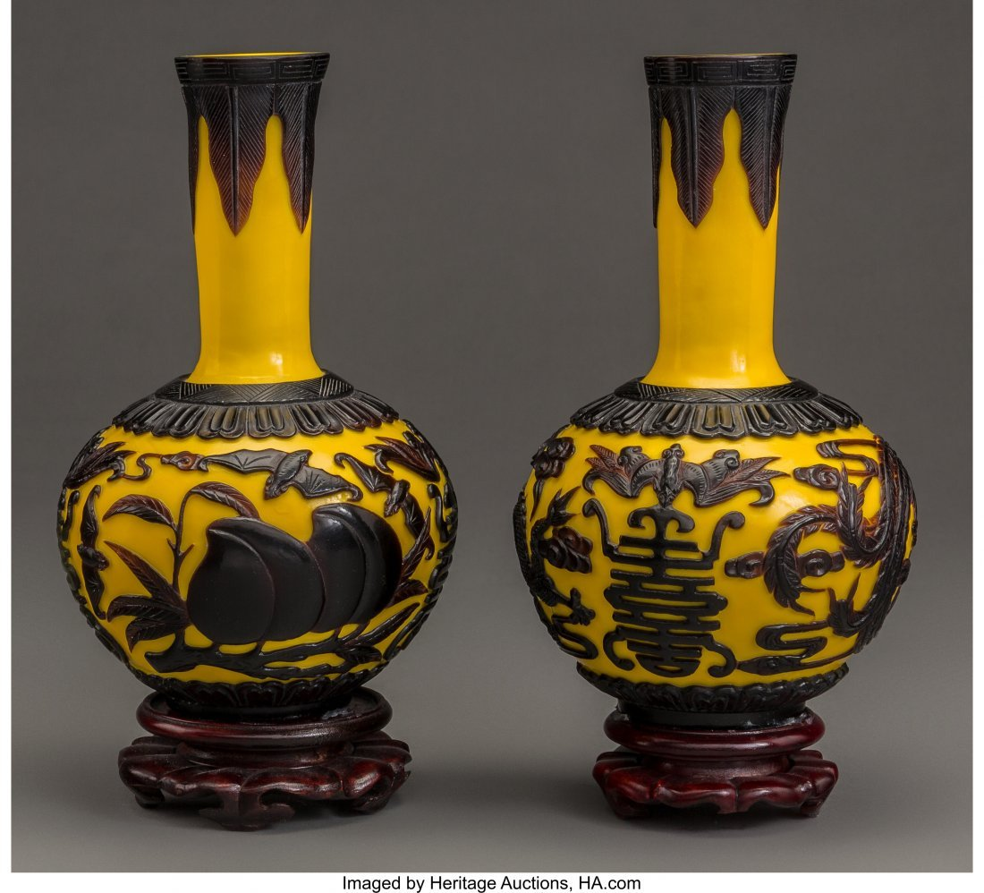 63720: A Pair of Chinese Peking Glass Vases with Stands
