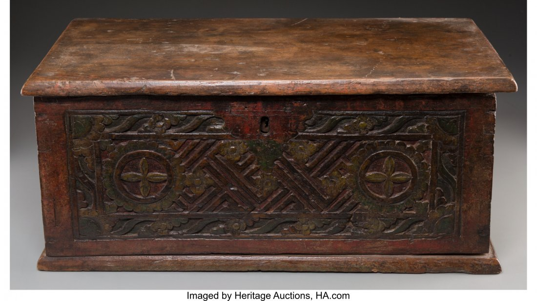 63556: A German Carved and Painted Oak Table Chest, 18t