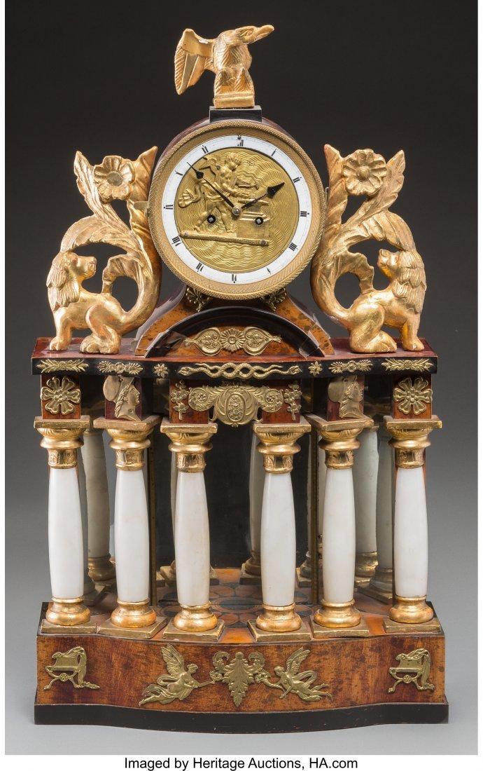 63557: A Biedermeier Giltwood, Alabaster, Burled Walnut
