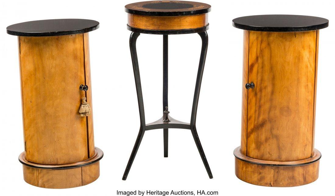 63561: A Pair of Biedermeier Maple and Ebonized Wood Ca