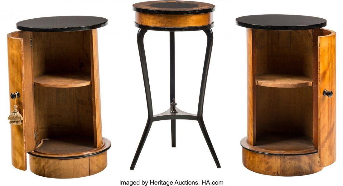 63561: A Pair of Biedermeier Maple and Ebonized Wood Ca - 2