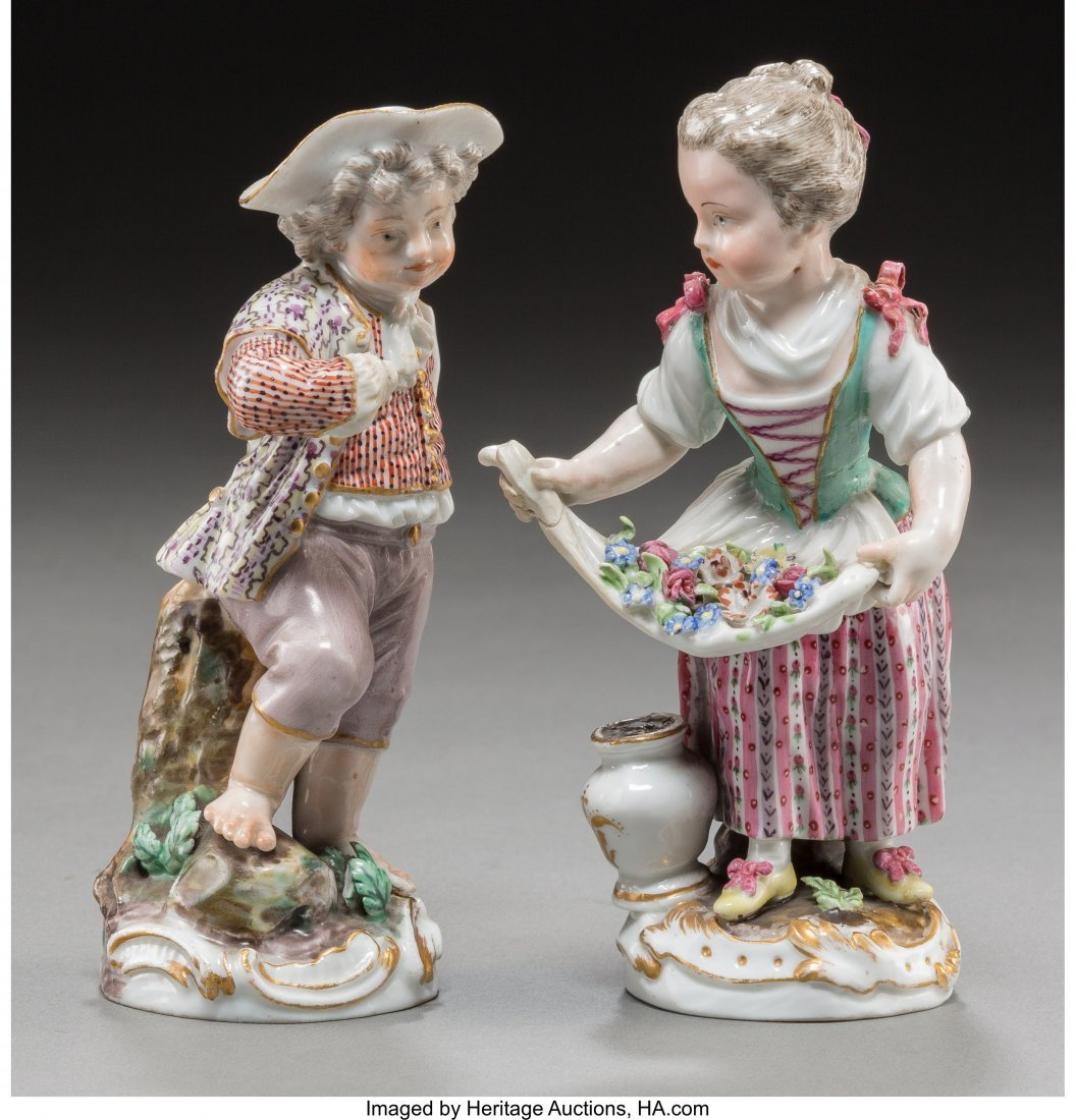 63634: Two Meissen Porcelain Male and Female Figures, M