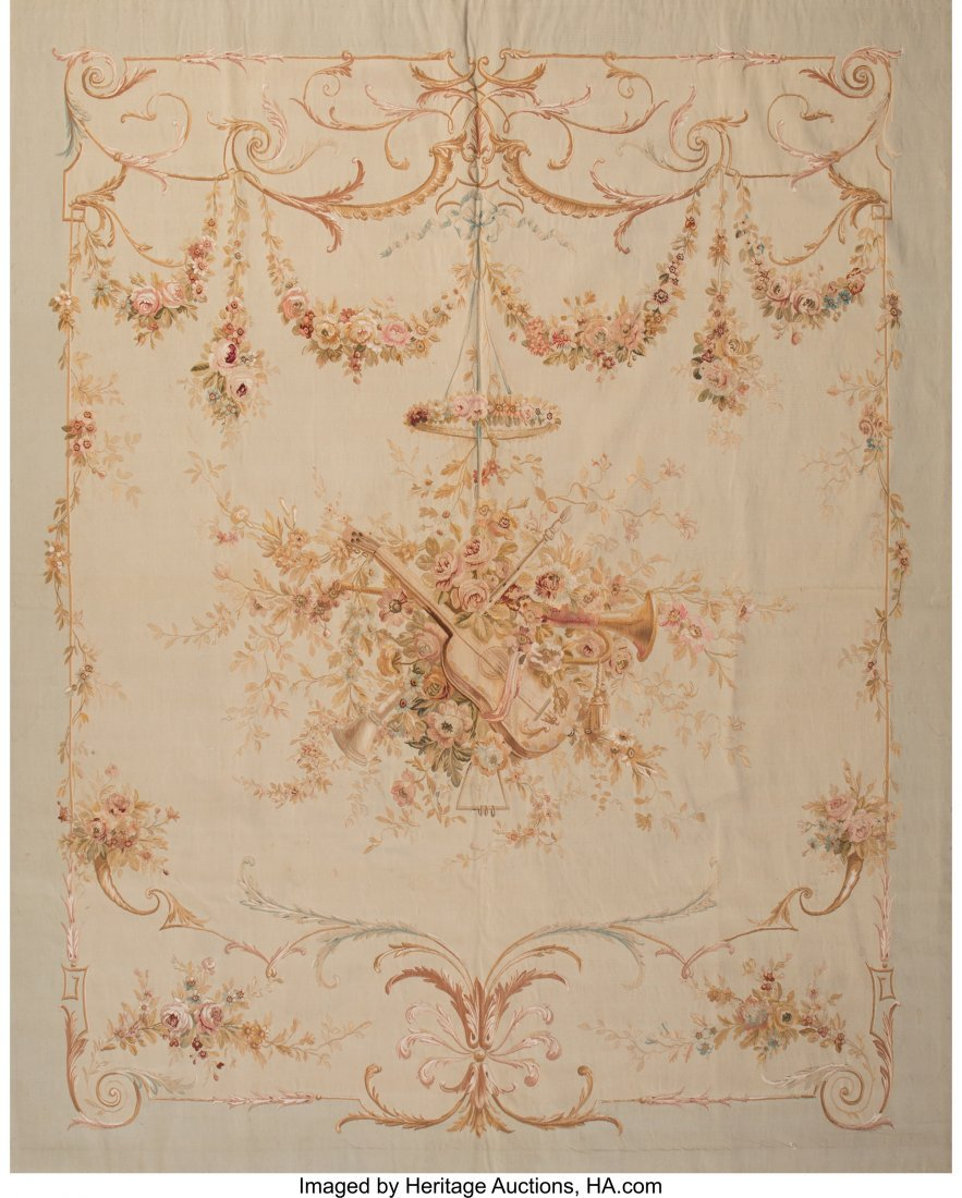 63565: An Aubusson Tapestry 84 x 68 inches (213.4 x 172