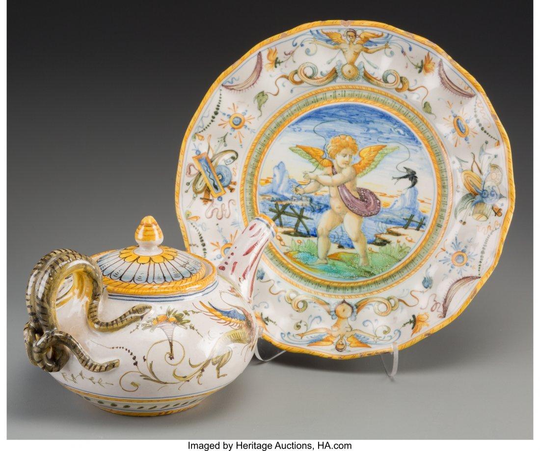 63639: A Cantagalli Renaissance Revival Majolica Plate