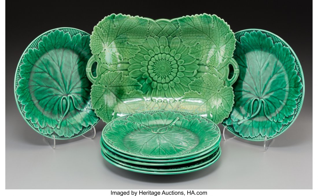 63640: An Eight-Piece Wedgwood Majolica Green Cabbage L