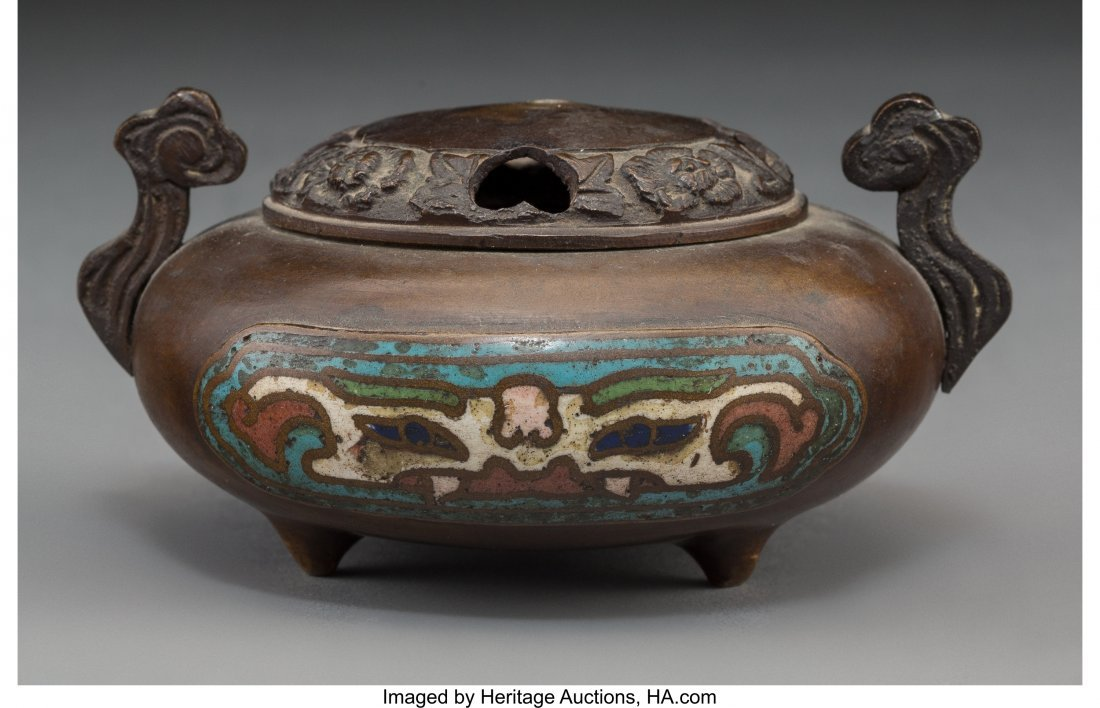 63734: A Chinese Bronze Covered Incense Burner with Cha