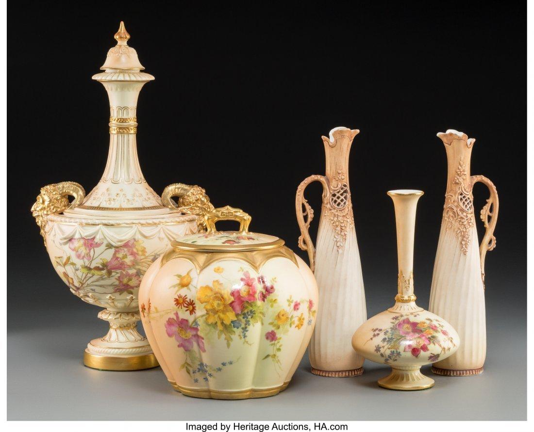 63643: Five Royal Worcester and Associated Porcelain Va