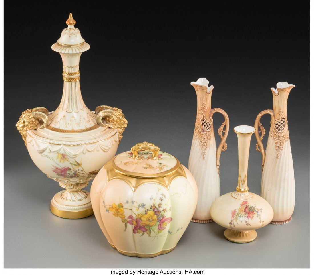 63643: Five Royal Worcester and Associated Porcelain Va - 2