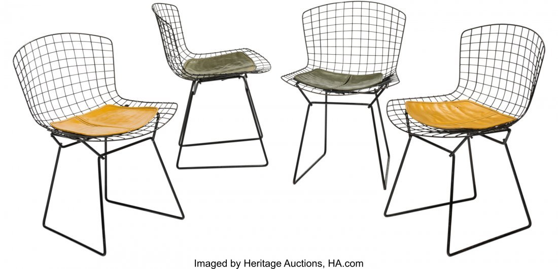 63581: Four Harry Bertoia for Knoll Black Wire Side Cha