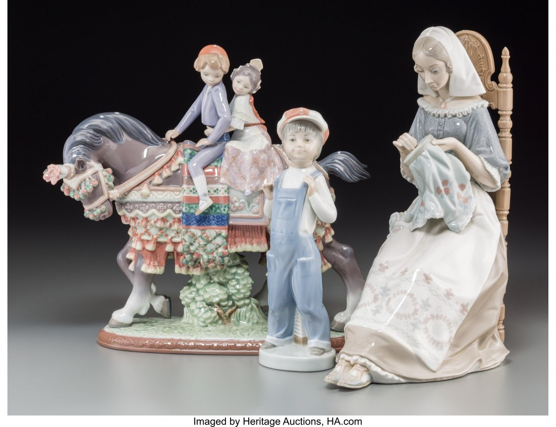 63645: Three Lladro Porcelain Figural Groups, late 20th