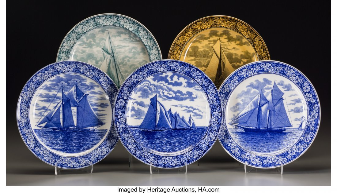63646: Five Wedgwood Transferware Yachting Plates, Staf