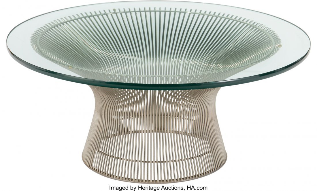 63591: A Warren Platner for Knoll Nickel and Glass-Topp