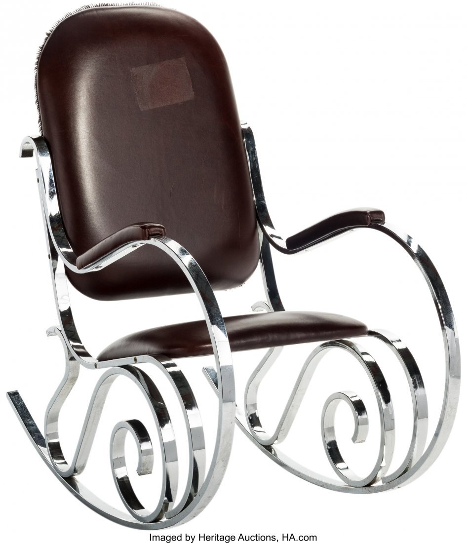 63592: A Maison Jansen Chrome and Leather Rocking Chair