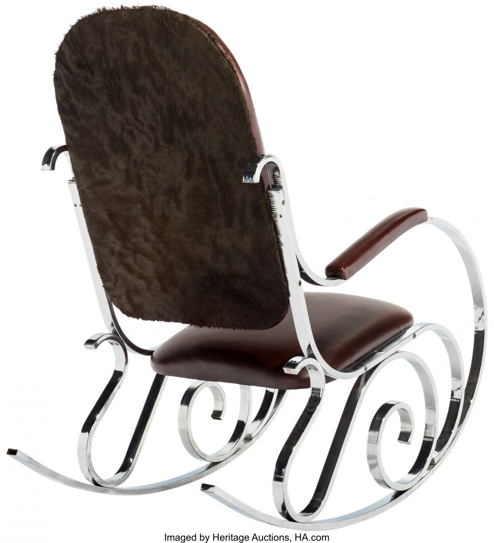 63592: A Maison Jansen Chrome and Leather Rocking Chair - 2