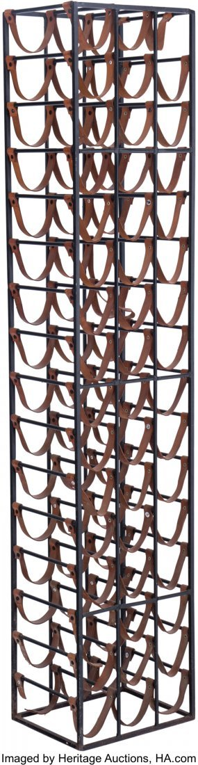 63594: An Arthur Umanoff Leather and Iron Wine Rack, mi