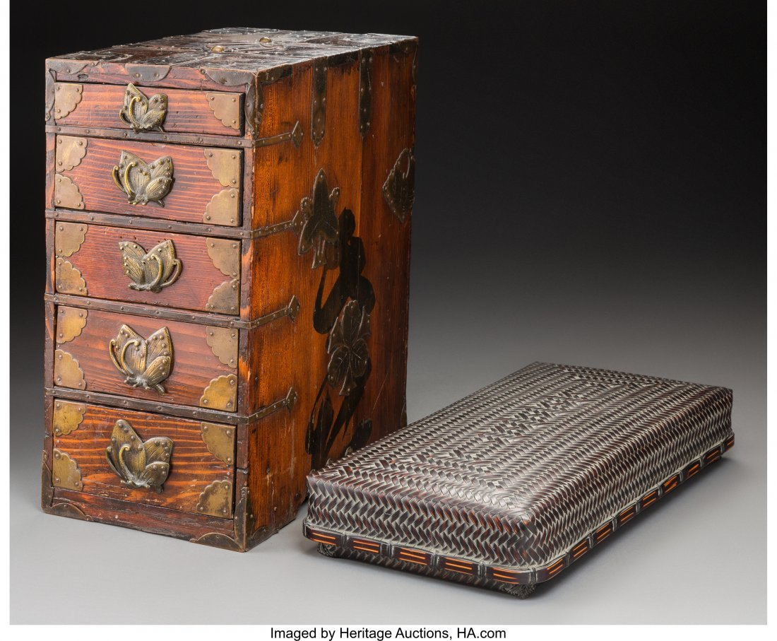 63742: A Diminutive Japanese Tansu Cabinet and Covered
