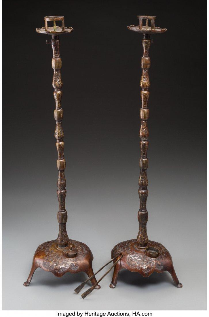 63744: Two Japanese Meiji Bronze Prickets, Meiji Period