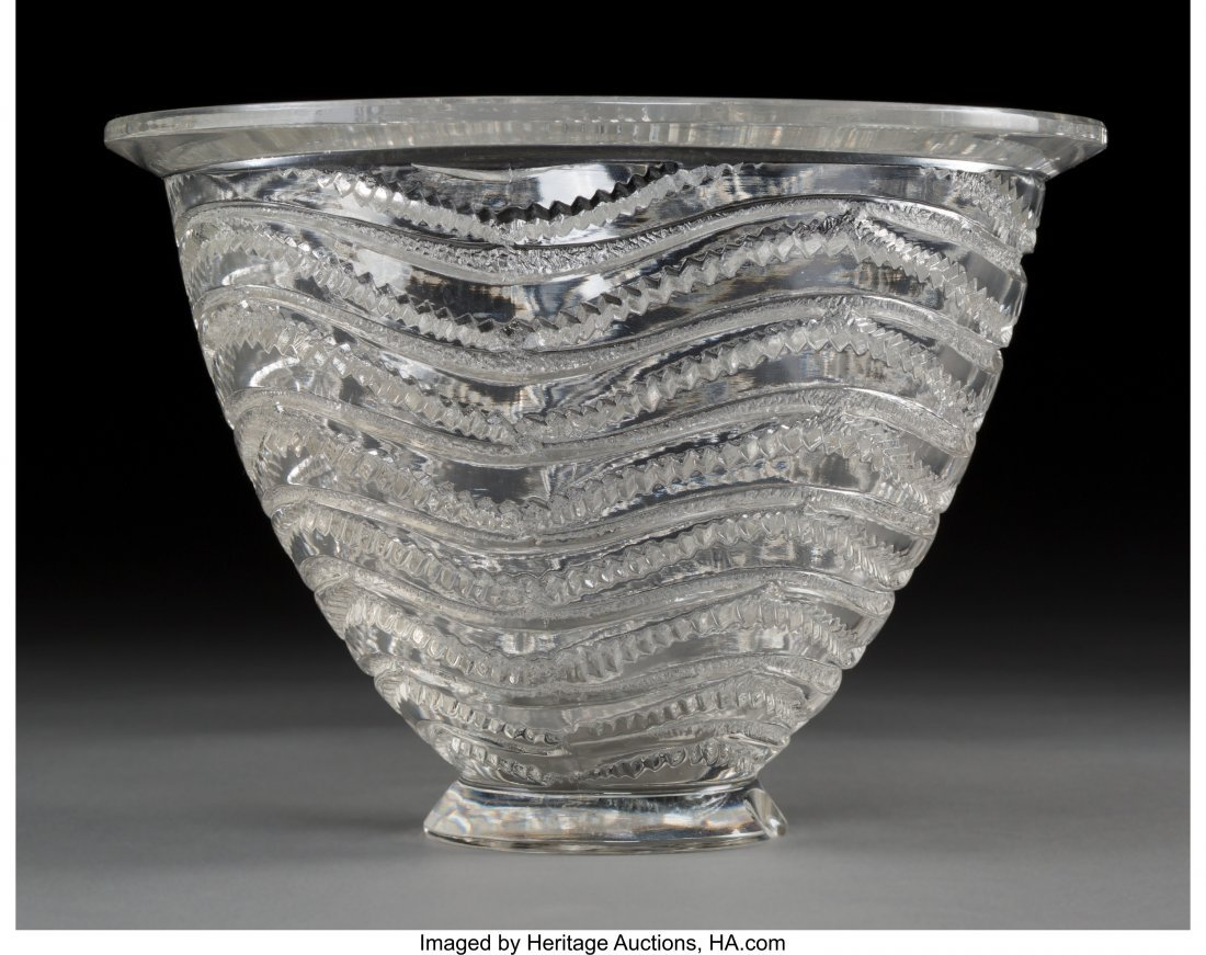 63653: A Rene Lalique Clear Glass Annecy Vase, Wingen-s