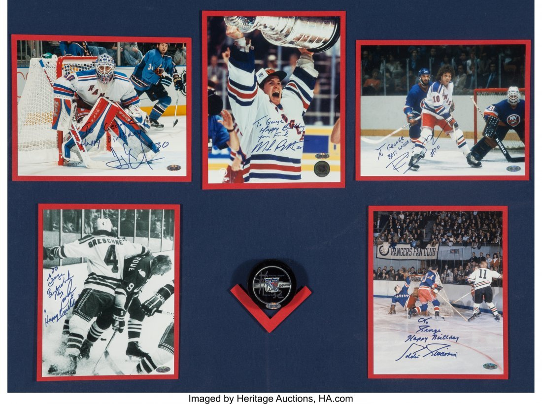 63600: A Framed Group of Five New York Rangers Hockey P