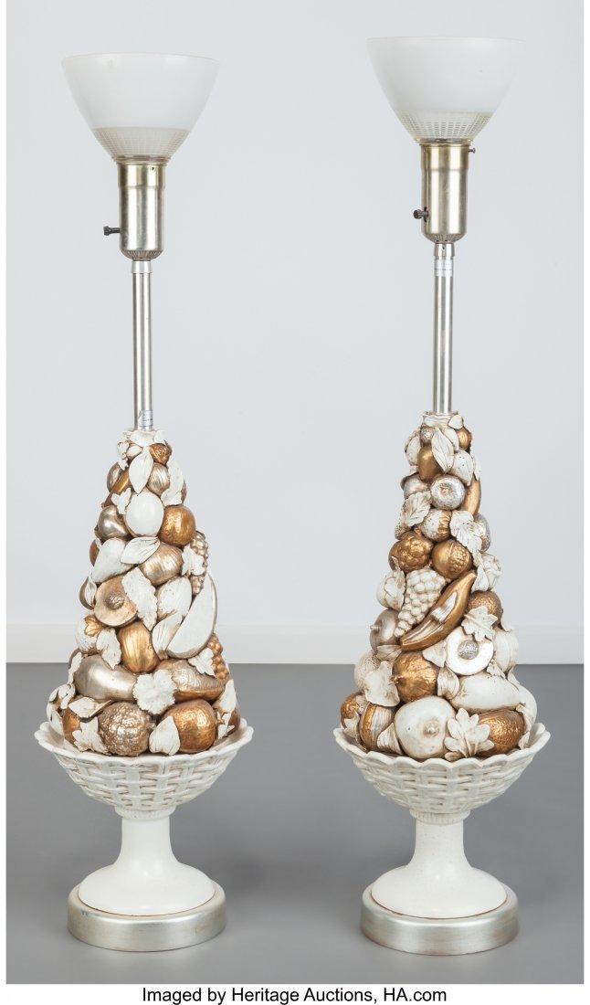 63601: Pair of Marbro Company Glazed Ceramic Fruit Lamp