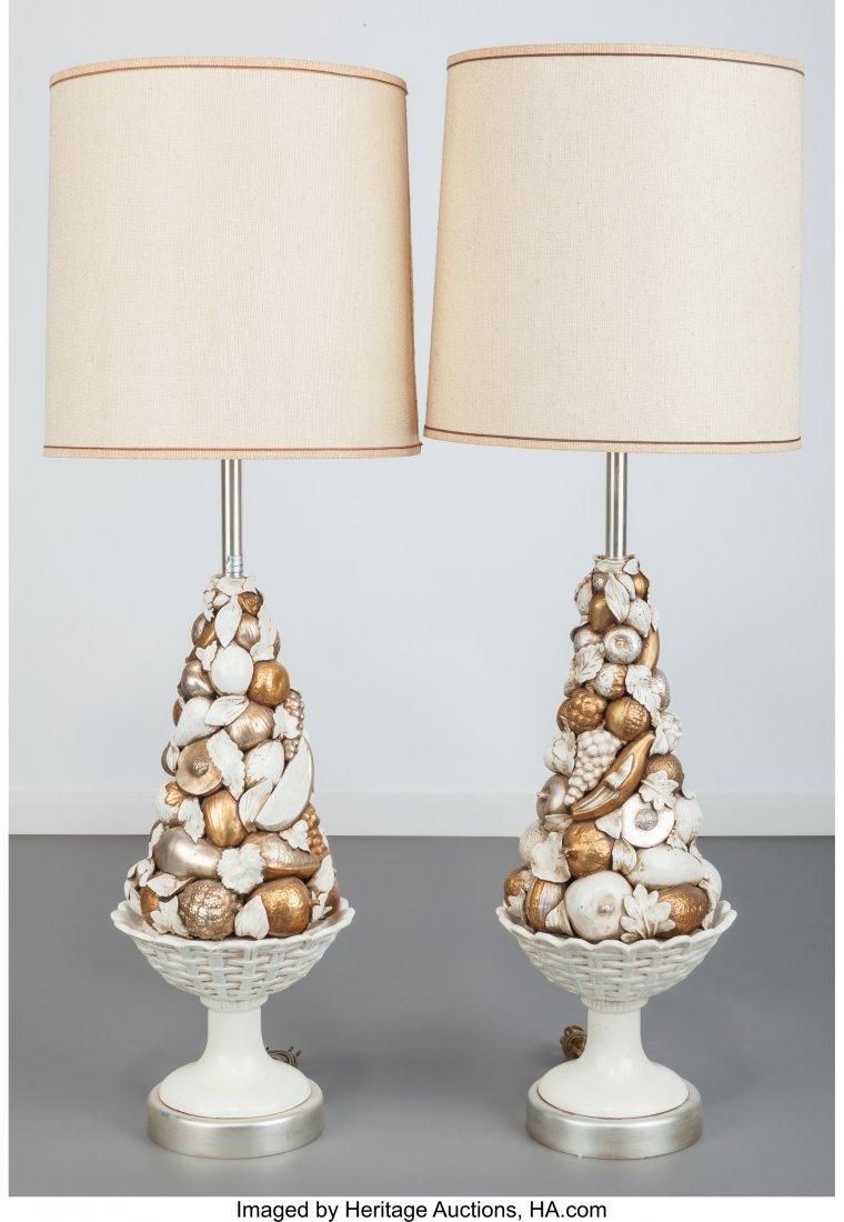 63601: Pair of Marbro Company Glazed Ceramic Fruit Lamp - 2