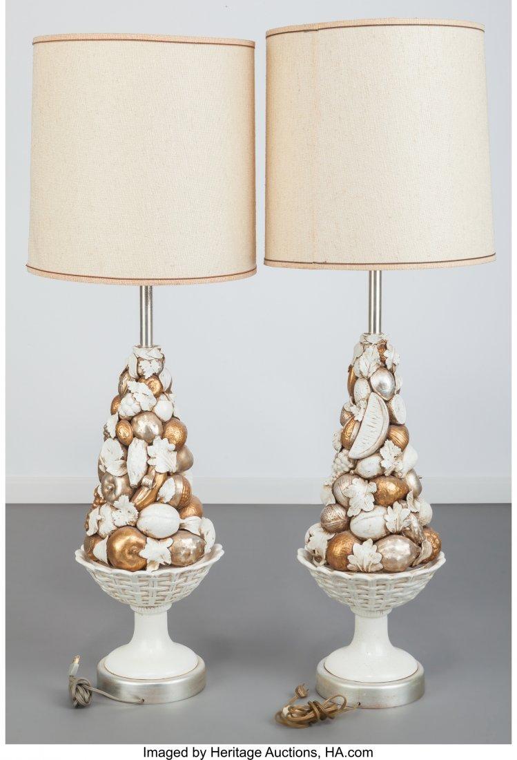 63601: Pair of Marbro Company Glazed Ceramic Fruit Lamp - 3