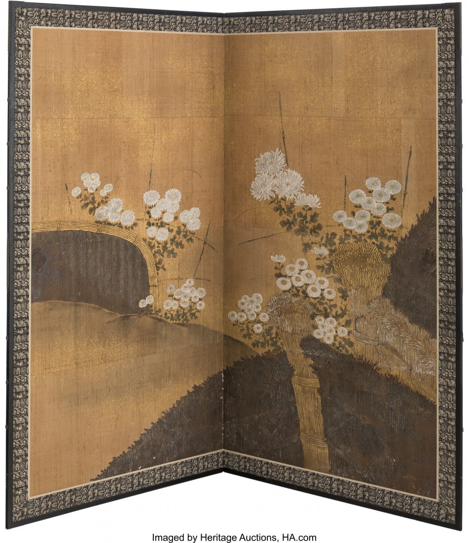 63746: A Large Japanese Painted Room Screen with Chrysa