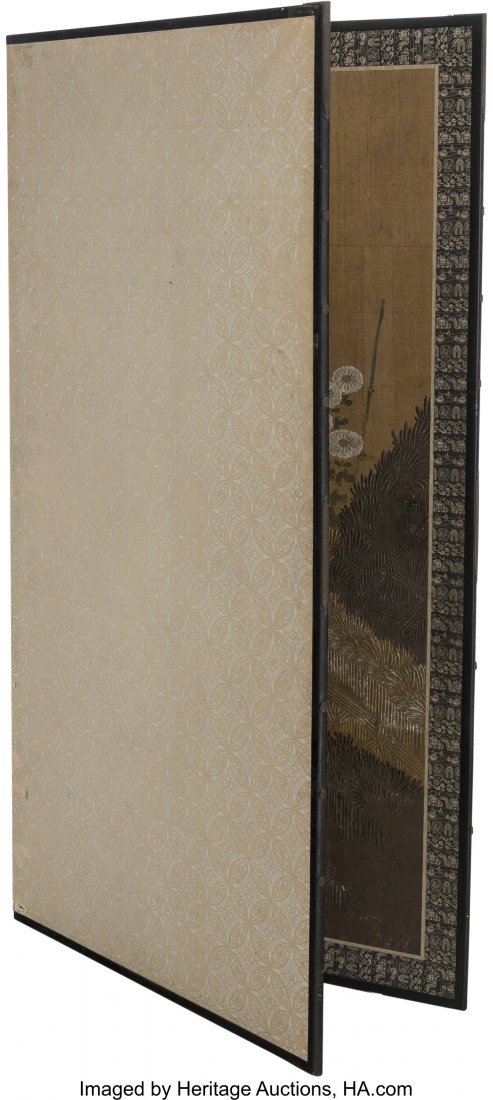 63746: A Large Japanese Painted Room Screen with Chrysa - 2