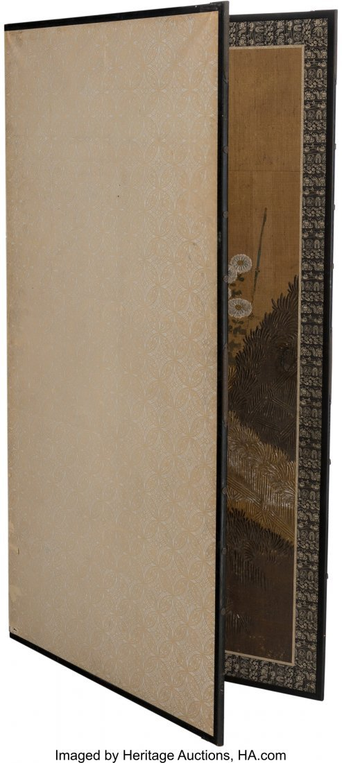 63746: A Large Japanese Painted Room Screen with Chrysa - 4