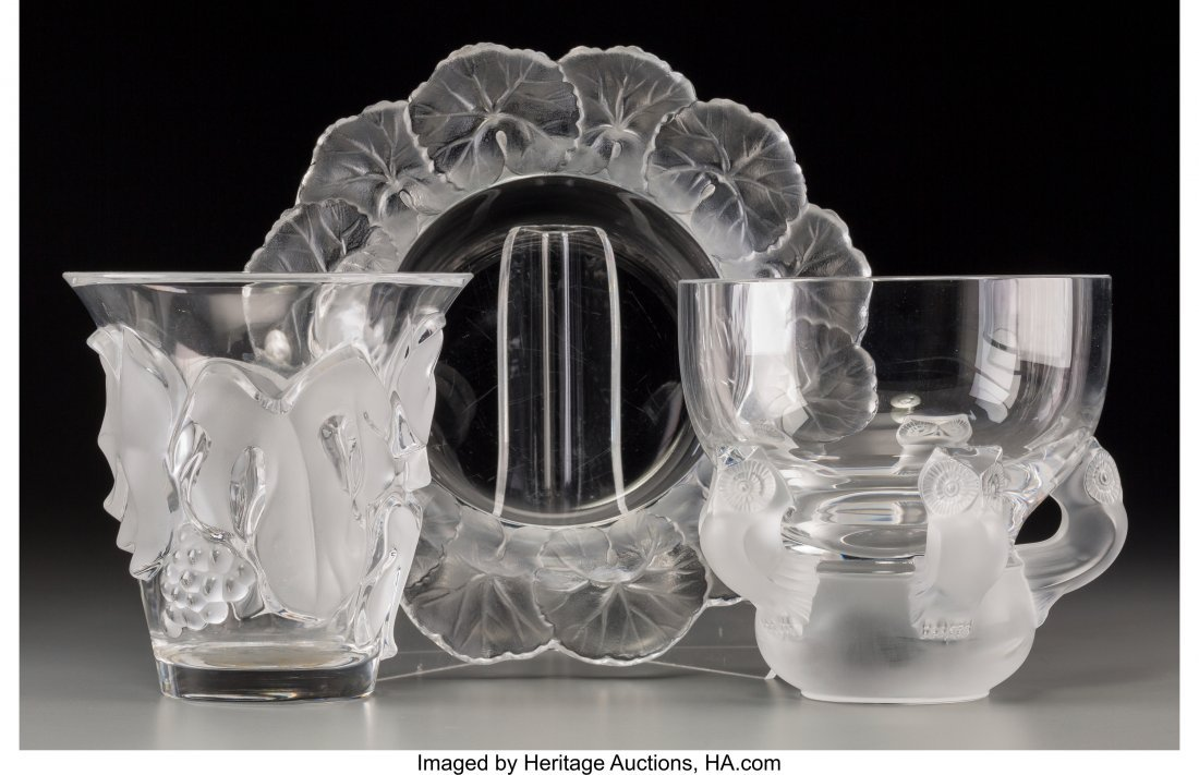63656: Three Lalique Clear and Frosted Glass Table Item
