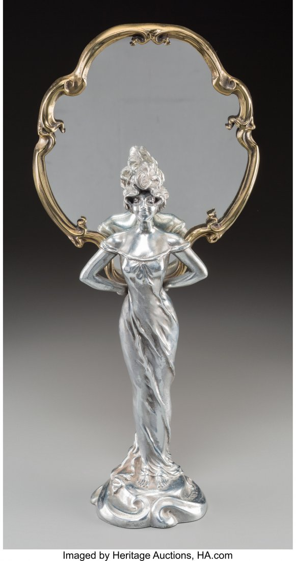 63606: An Art Nouveau Bronze and Silvered Vanity Mirror