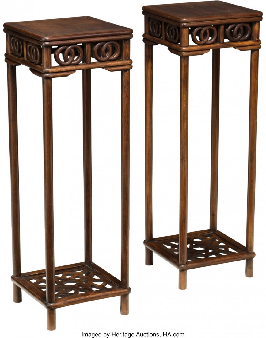 63749: A Pair of Chinese Carved Rosewood Stands, late Q