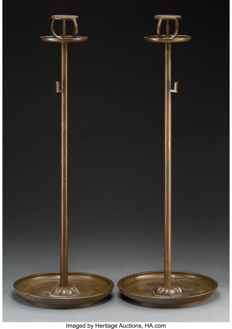 63750: A Pair of Japanese Bronze Shokudai  30-1/4 high