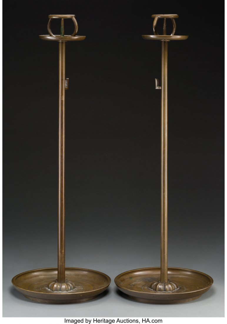 63750: A Pair of Japanese Bronze Shokudai  30-1/4 high  - 2