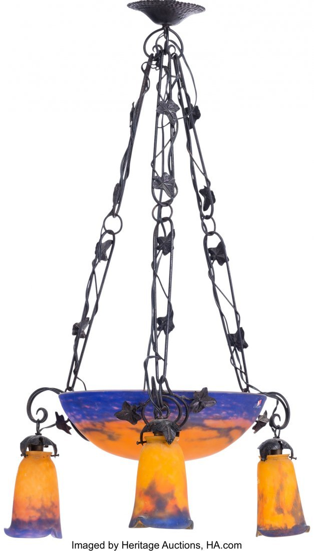 63659: A Muller Freres Art Nouveau Iron and Glass Chand