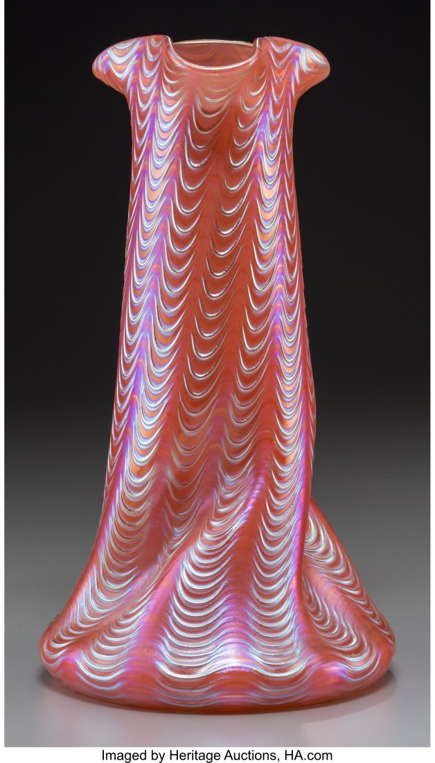 63660: A Loetz Iridescent Ribbed Glass Vase, early 20th