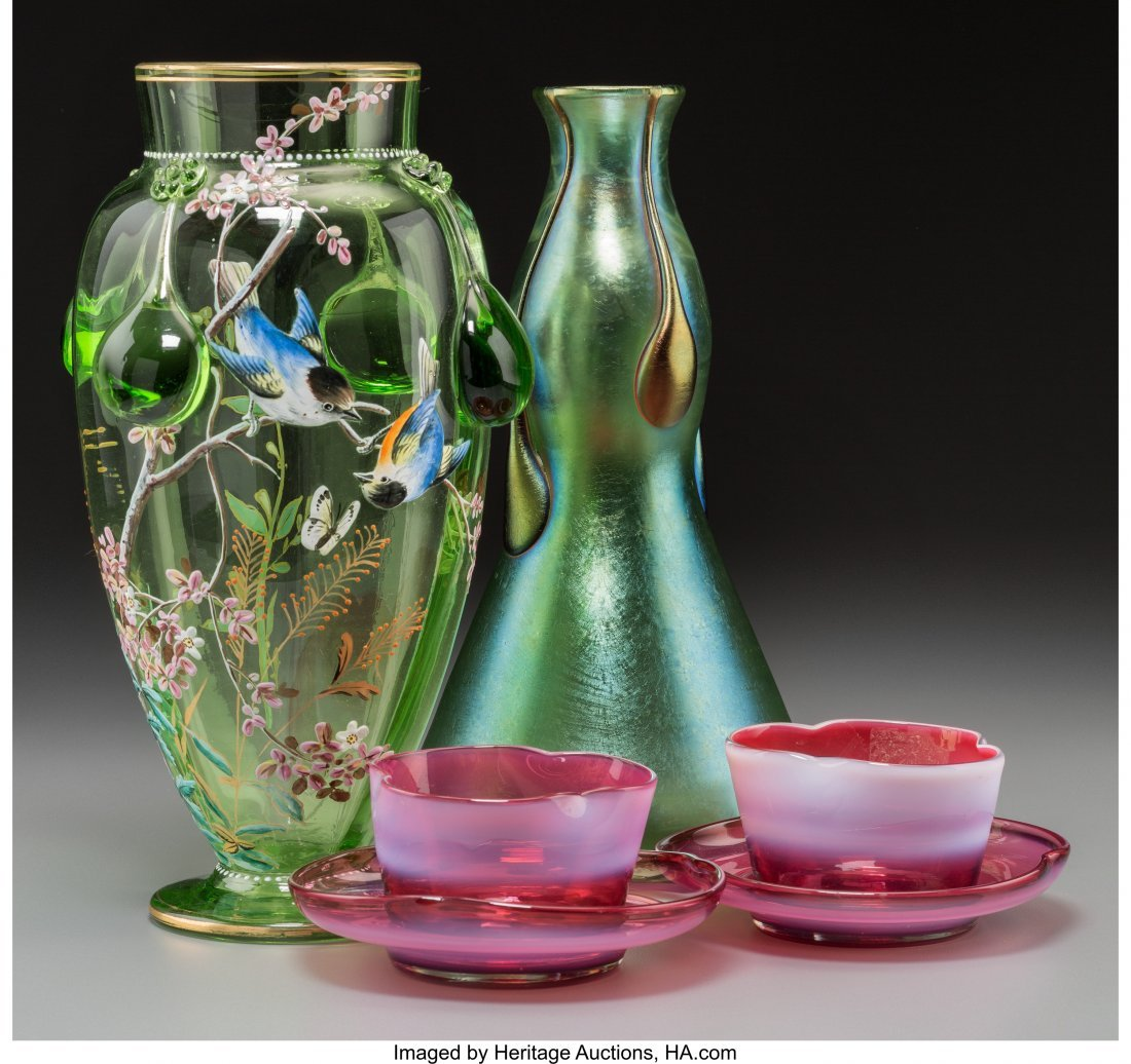 63661: Two Harrach and Loetz Art Glass Vases with a Pai