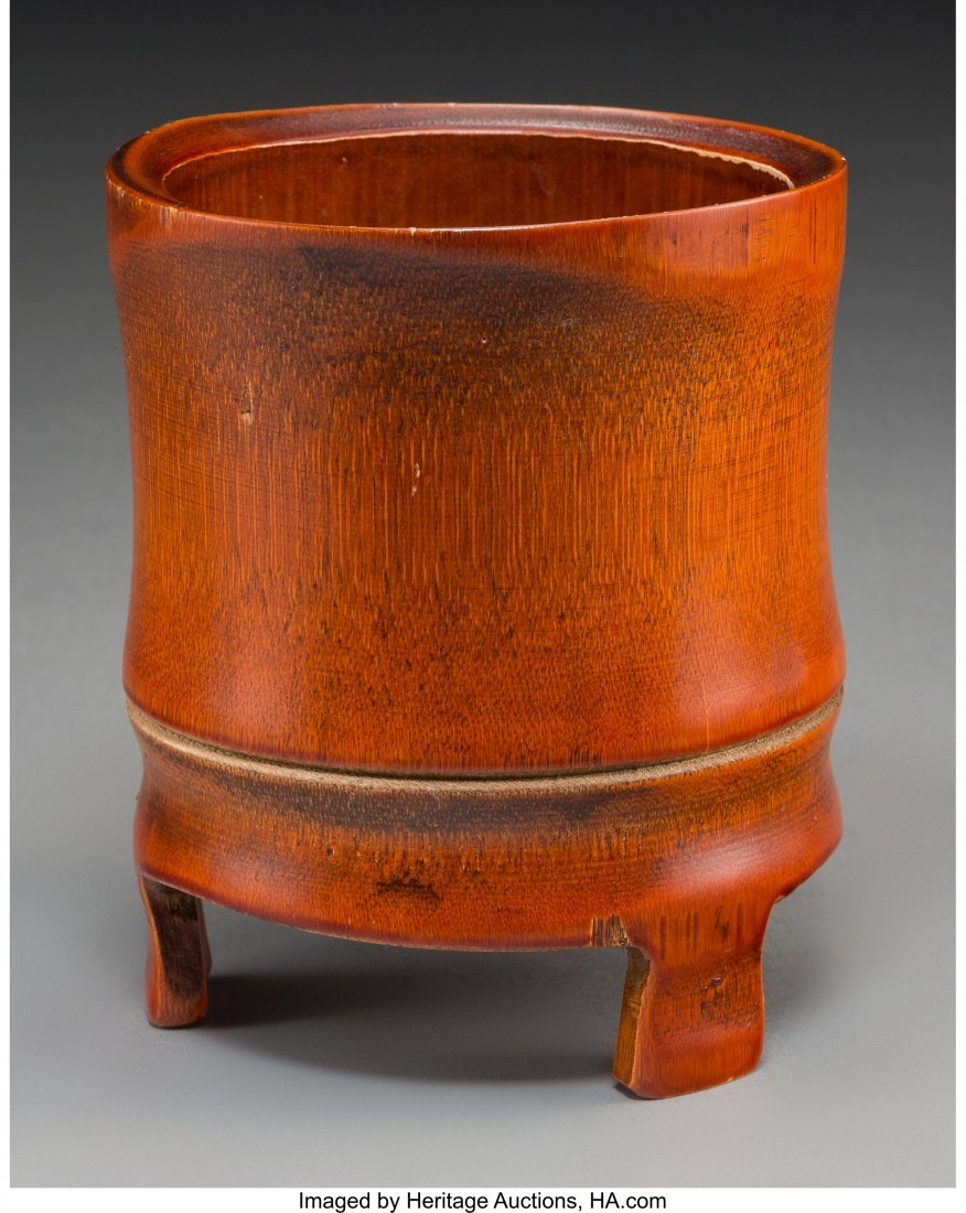 63753: A Chinese Bamboo Brush Pot 6 inches high (15.2 c