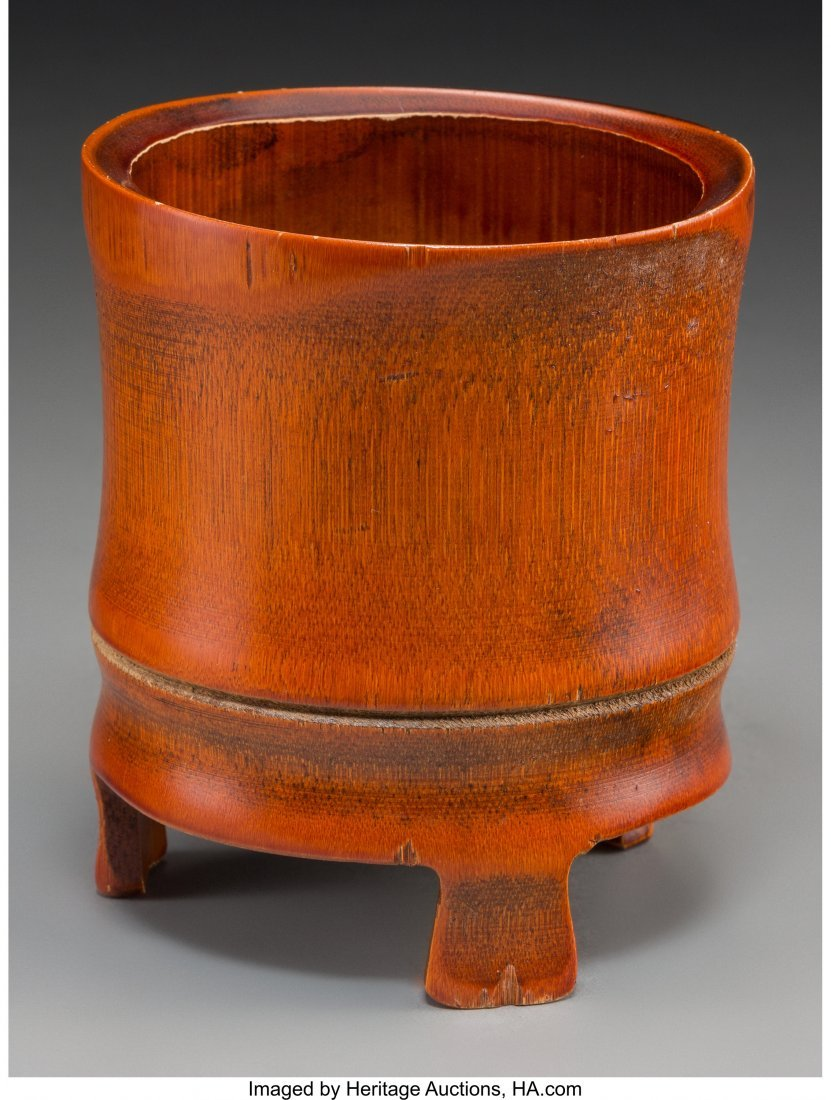 63753: A Chinese Bamboo Brush Pot 6 inches high (15.2 c - 2