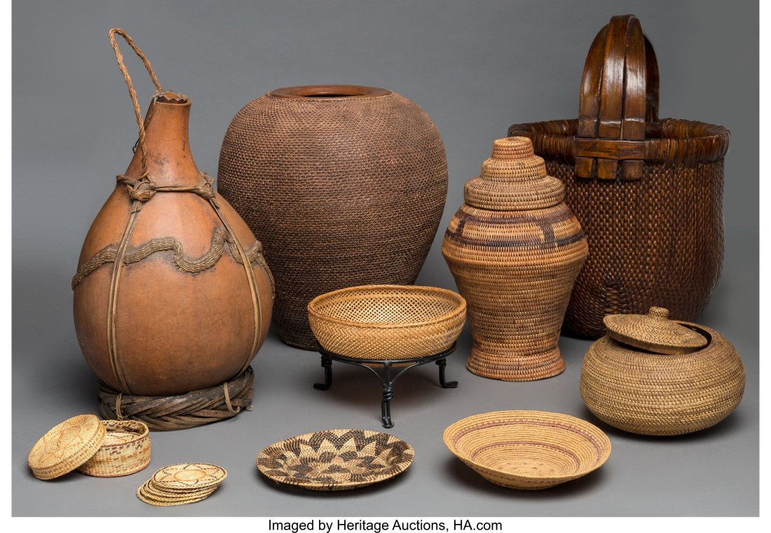 63756: A Group of Nine Ethnographic Vessels and Woven B