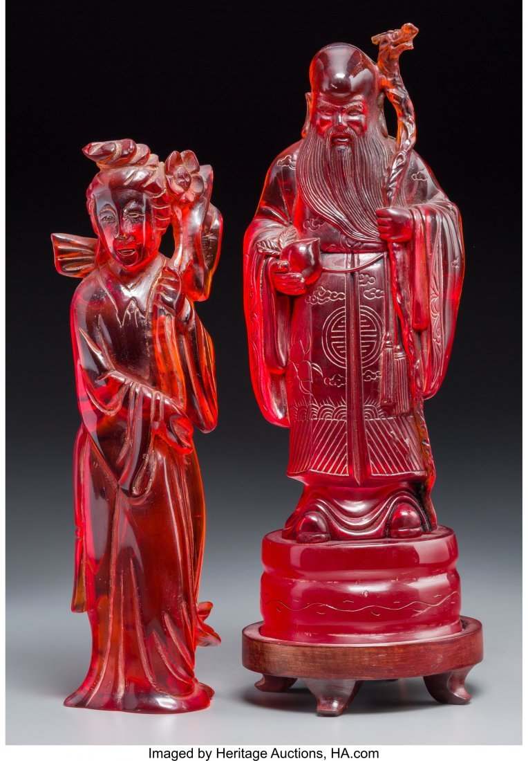 63757: Two Chinese Cast Resin Figures of Shoulao and Gu